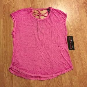 Betsey Johnson Cutout Tee Women's T-Shirt in Pink